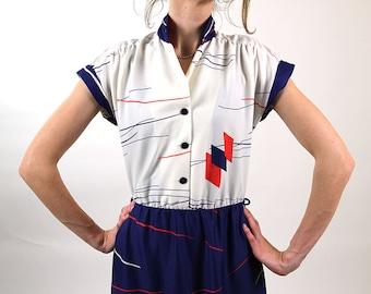 Vintage summer dress, sailor dress, women day dress, navy blue, red white 90s dress, S/M