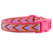 Tribal Chevron Dog Collar - Pink, Turquoise and Orange Chevron Arrows Navajo Inspired Southwest Pattern Adjustable Boy or Girl Collar