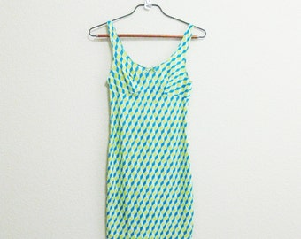 Mod Babydoll Nightgown Nylon Small - Blue Yellow Nightgown