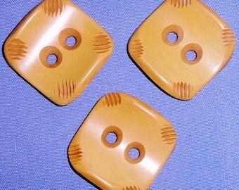 Large Vintage Butterscotch Bakelite Set of 3 Vintage Buttons