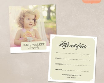 Photography Gift Certificate Template for Photographers PSD Flat card MG002
