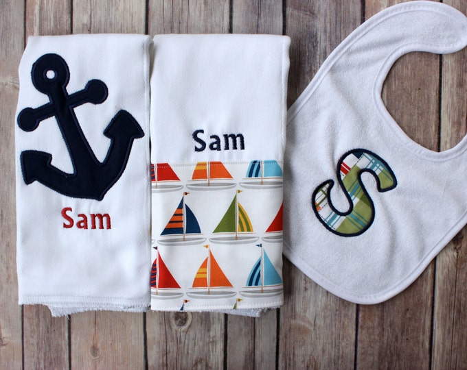 Baby Boy Monogrammed Nautical Burp Cloth Bib Set - Monogram Boy Anchor Sailboat Set, Nautical Baby Gift, Personalized Boat Burp Cloth, Baby