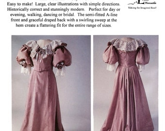 Victorian 1890's Five Gore Skirt in 3 Lengths - Walking, Short & Long Train - Laughing Moon Sewing Pattern 101 sizes 2-36 Victorian Costume