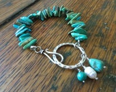 Sterling Silver and Turquoise Bracelet with Freshwater Pearl and Turquoise Charms