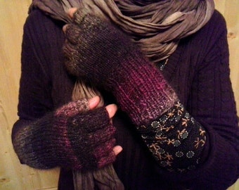 fingerless gloves with half fingers in brown / long arm warmers with fingers  / made to order