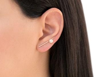 Rose gold earring studs, gift for women, minimalist earrings, minimal ear cuffs, rose gold ear climbers, hypoallergenic earrings