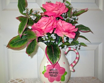 Mothers Pink Rose Pitcher Arrangement, Silk Flower Arrangement, Home Decor, Silk Floral Arrangement, Mother's Day Gift