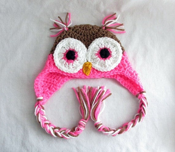 Baby Owl Hat Owl Baby Clothes Baby Earflap Hat Sizes from