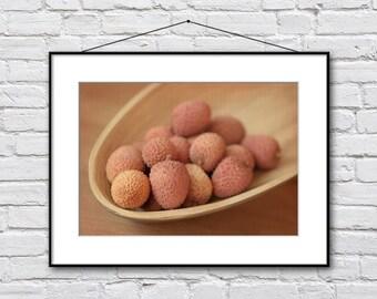 Lychee fruits photography, lychee picture, warm kitchen decor, fruits photo print, kitchen art, pale pink cream fine art print, food art