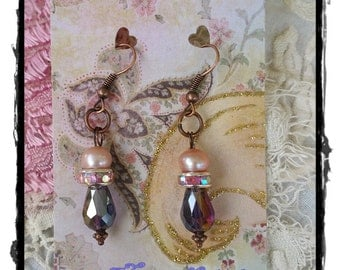 Pearl Earrings, Fresh Water, Pink, Purple, Crystal Drop, Bronze