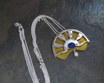 Lapis, Pearl, Sterling Silver and Brass Fan Necklace