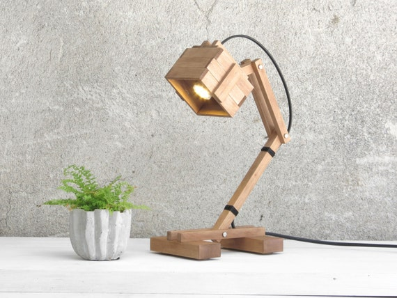 "Table Lamp ""Kran VI"", Wood Light, Wood Lighting, Desk Light, Table ..."