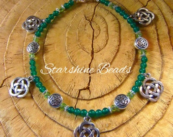 Green Onyx Celtic Anklet - Celtic Anklet, Celtic, Anklet, Green Anklet, Anklet, Pagan, Celtic Knot, Anklets, Beaded Anklets, Green Anklets