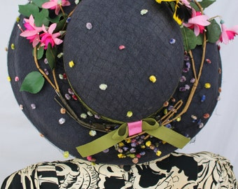 Custom Order: Vintage 1940s-Style Wide Brim Hat with Vintage Flowers & Feather Butterfly