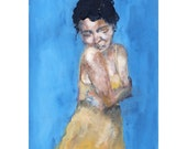 Embrace - Giclee Art Print, Figure Painting, Yellow Dress,