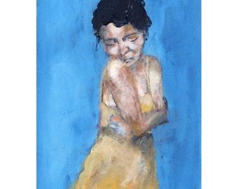 Embrace - Giclee Art Print, Figure Painting, Yellow Dress,