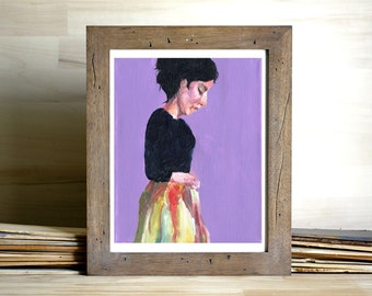 Portrait Painting Art Print - lilac purple, woman painting, simple, modern decor