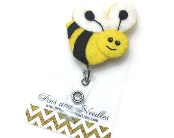 Pediatrician ID Badge Reel - Retractable Badge Reel - Cute Id Badge Reels - Pediatrician Badge Holder - Designer ID Reel - Bumble Bee Badge