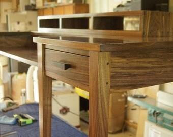 Shaker computer desk. Solid walnut. Custom made.