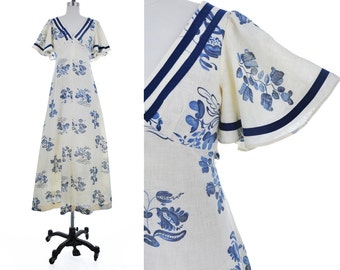 Cielo Maxi Dress / 1970's Vintage FLUTTER Angel Sleeve Openback Monaco Blue Floral Print Cream Muslin Cotton 70s Hippie Boho Dress XS/S