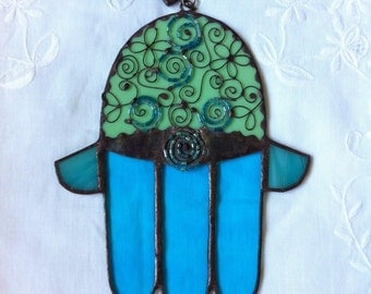 HANDMADE HAMSA HAND  Green and Blue Color with Beads-Filigree.Stained Glass,Wall Hanging,Original Art Decor,Ethnic Tiffany Glass,Unique gift