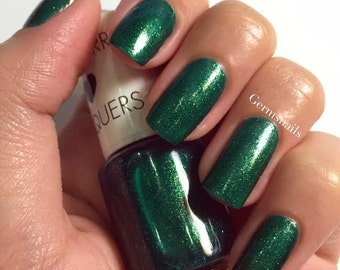 Nail Polish - Viridian - Dark Green Glitter Nail Polish with Golden Shimmer