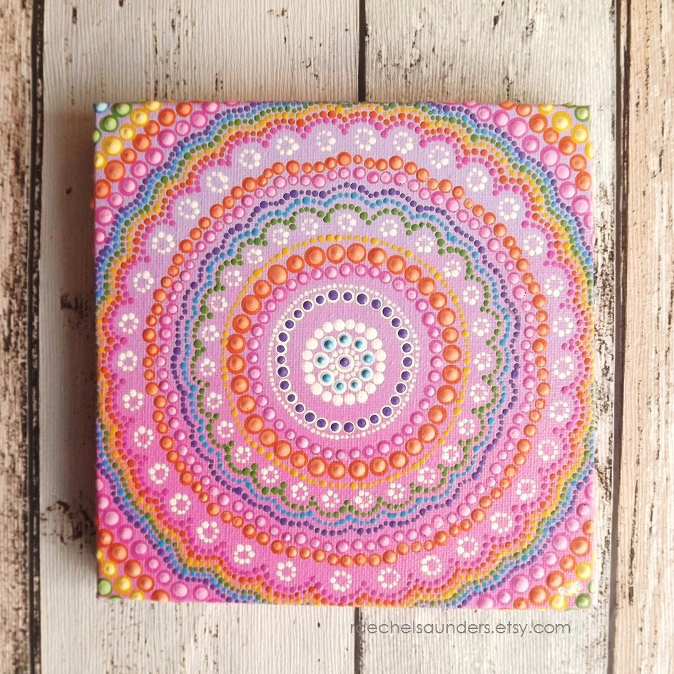 dot painting aboriginal art acrylic painting rainbow