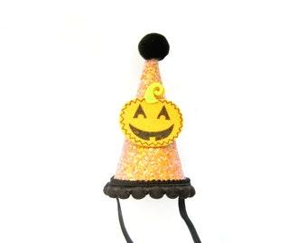 Mini Glitter Orange & Black Pumpkin Halloween Party Hat - Halloween Hat, Halloween Photo Prop, Cake Smash Hat, Cone Hat, Glitter Hat