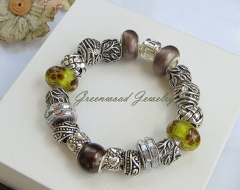 Falling Leaves - European Style Charm Bracelet - Brown Lampwork Glass  Beads and Charms