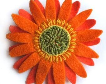 Orange Flower Brooch, Orange Flower Hair Clip, Felt Gerbera Flower Corsage, Bright Orange Brooch, African Daisy Hair Flower, Large Brooch