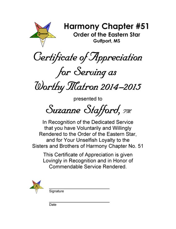 Oes certificate of appreciation past worthy matron and past like this item yelopaper Gallery