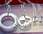 Mother and Daughter necklace set - (3) Three Generation Jewelry- Grandma Mother Daughter Sterling Silver Heart Cut Out - I carry your heart