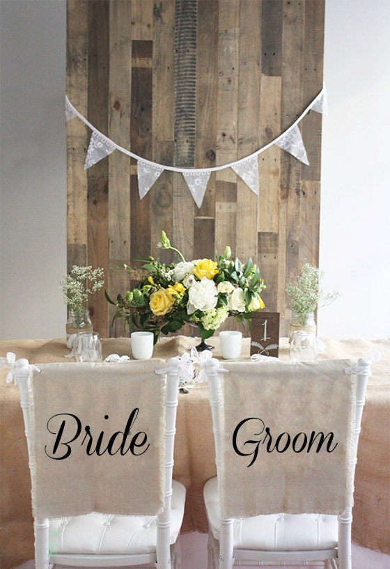 rustic linen lace bride and groom wedding chair cover signs