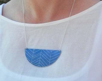 SALE 20% OFF - Herringbone Semicircle Blue Pattern Necklace