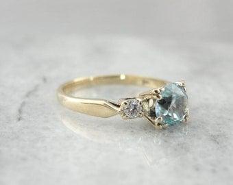 Soft Powder Blue Zircon And Diamond Ladies Ring 4JCWAW-P