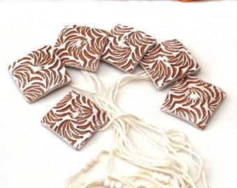 Wedding Napkin Ring - Set of 6 Brown and White Ceramic Napkin Rings, Holiday gift, Hostess gift, Nr009