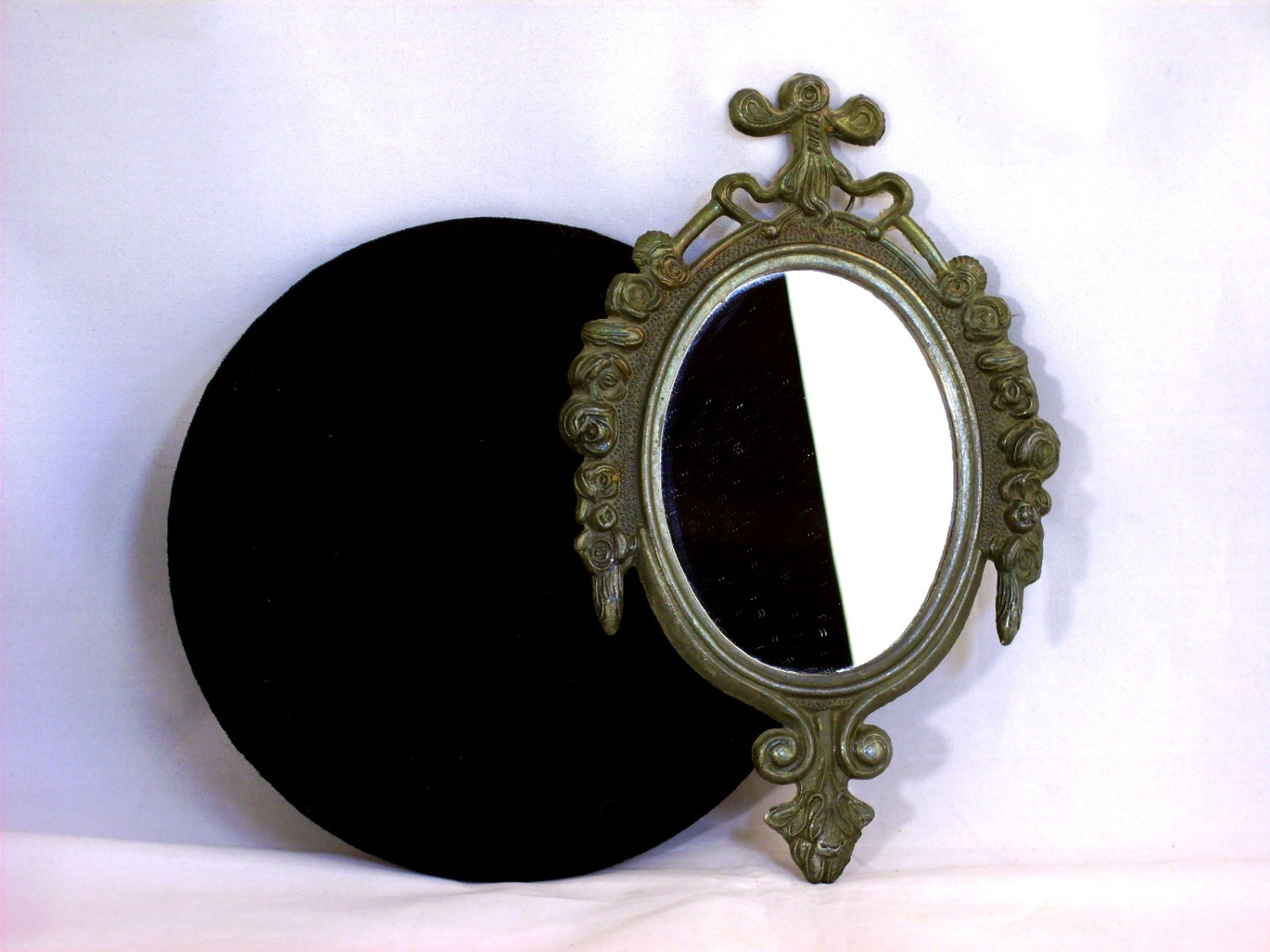 Vintage Vanity Mirror Small Oval Ornate Made In Italy Metal
