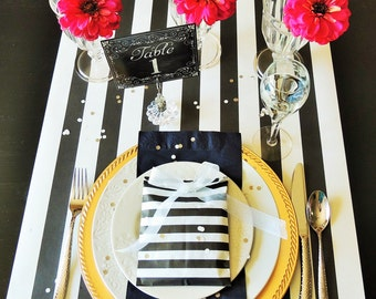 Black And White Wedding Table Runner Awning Stripe Paper 6 Feet