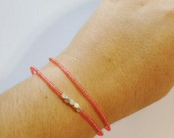 Coral bracelet, pink bracelet, seed bead jewelry, seed bead bracelet, friendship bracelet,rose bracelet, minimalist,beaded bracelet, gift