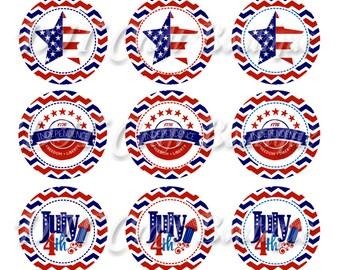 INSTANT DOWNLOAD / 4th of July-Patriotic / Digital Bottle Cap Sheet / Bottlecap Image Sheet  / 1 Inch Circles / 4x6 Collage Sheet / # FJ03