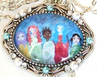 Five Goddesses Mixed Media Art Cameo Necklace Original Art Jewelry Cameo Pendant Necklace
