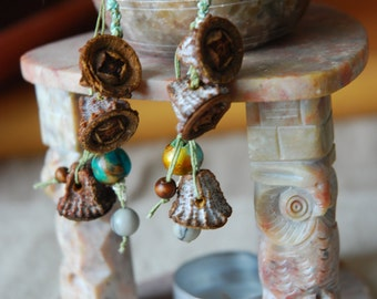 eucalyptus primitive tribal  earrings