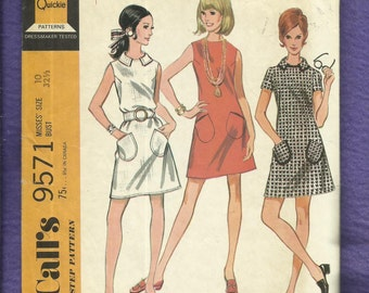 1960's McCalls 9571 Mod A-Line Dresses with Slanted Cell Phone Pockets  Size 10