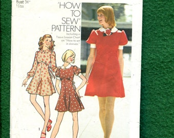 1970's Simplicity 5903 Retro Country Shaped Empire Waist Dress with Puff Sleeves Size 12 UNCUT