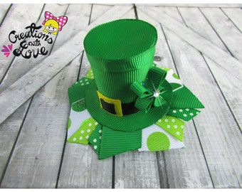 Leprechaun Hat Ribbon Sculpture Hair Clip. St. Patrick's Day Hair Clip