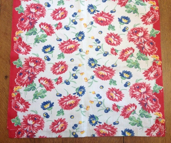 Vintage Kitchen Towel Fabric Cotton Print Red Mums By