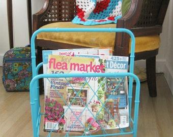 Vintage Retro Aqua Blue Metal Bamboo Style Magazine Rack Stand ~ Funky Flea Market Style