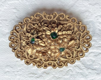 Vintage Guilded Gold Brooch Pin Emerald Green Rhinestones Floral Pin Large Golden Holiday Christmas Brooch 1950s 60s Rhinestone Accessories