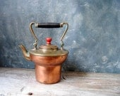 Copper and Brass Tea Pot: Vintage Rustic Copper and Brass Tea Kettle, Shabby Cottage Chic, Farmhouse Decor, French Country Home