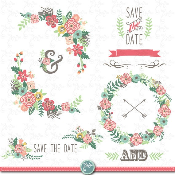 "Clipart Flowers Wedding Invitation Clipart Flowers: Wedding Clipart Pack: ""WEDDING FLORAL ""clip Art, Vintage"